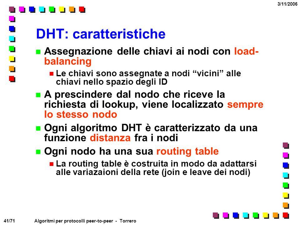 41/71 3/11/2006 Algoritmi per protocolli peer-to-peer - Torrero DHT: caratteristiche Assegnazione delle chiavi ai nodi con load- balancing Le chiavi s