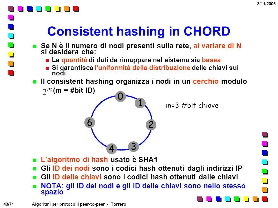 43/71 3/11/2006 Algoritmi per protocolli peer-to-peer - Torrero Consistent hashing in CHORD Se N è il numero di nodi presenti sulla rete, al variare d
