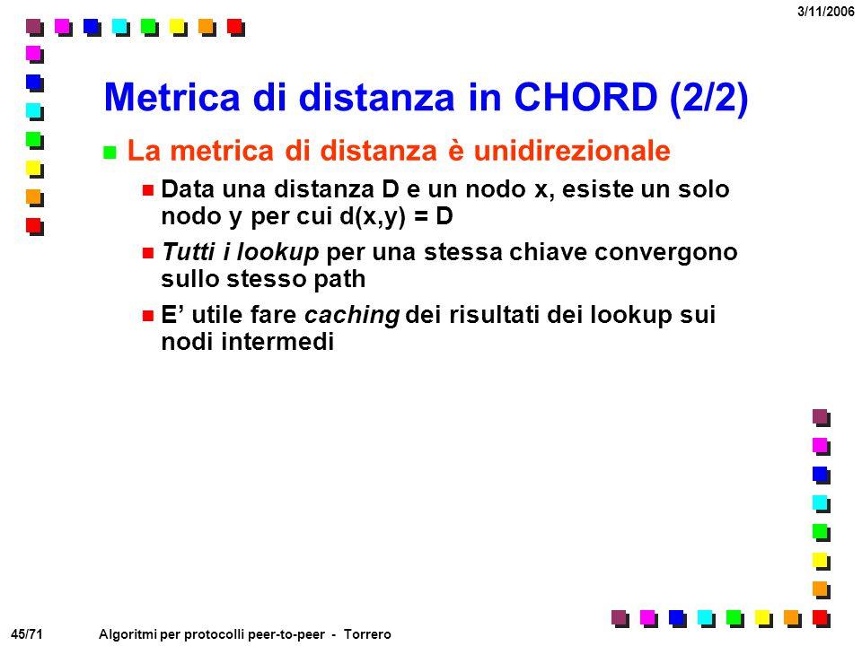 45/71 3/11/2006 Algoritmi per protocolli peer-to-peer - Torrero Metrica di distanza in CHORD (2/2) La metrica di distanza è unidirezionale Data una di
