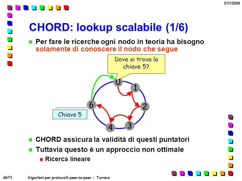 46/71 3/11/2006 Algoritmi per protocolli peer-to-peer - Torrero CHORD: lookup scalabile (1/6) Per fare le ricerche ogni nodo in teoria ha bisogno sola