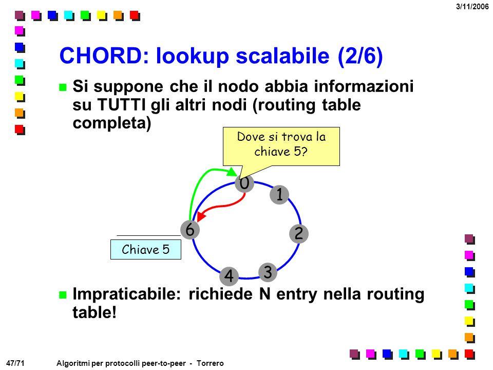 47/71 3/11/2006 Algoritmi per protocolli peer-to-peer - Torrero CHORD: lookup scalabile (2/6) Si suppone che il nodo abbia informazioni su TUTTI gli a