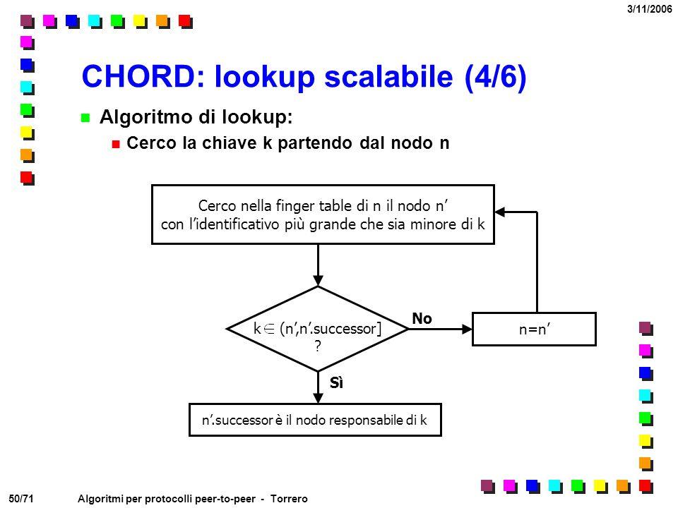 50/71 3/11/2006 Algoritmi per protocolli peer-to-peer - Torrero CHORD: lookup scalabile (4/6) Algoritmo di lookup: Cerco la chiave k partendo dal nodo