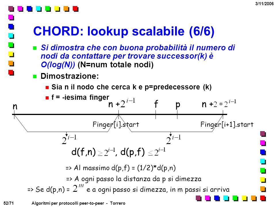 52/71 3/11/2006 Algoritmi per protocolli peer-to-peer - Torrero CHORD: lookup scalabile (6/6) Si dimostra che con buona probabilità il numero di nodi