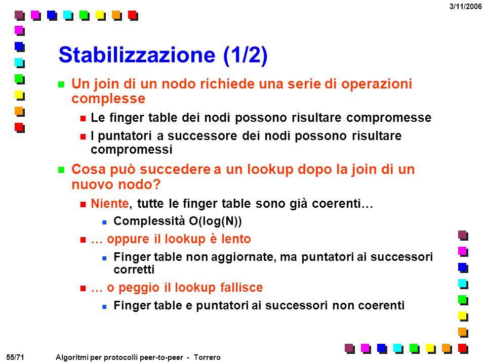 55/71 3/11/2006 Algoritmi per protocolli peer-to-peer - Torrero Stabilizzazione (1/2) Un join di un nodo richiede una serie di operazioni complesse Le