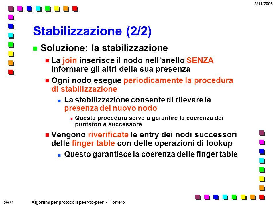 56/71 3/11/2006 Algoritmi per protocolli peer-to-peer - Torrero Stabilizzazione (2/2) Soluzione: la stabilizzazione La join inserisce il nodo nell'ane