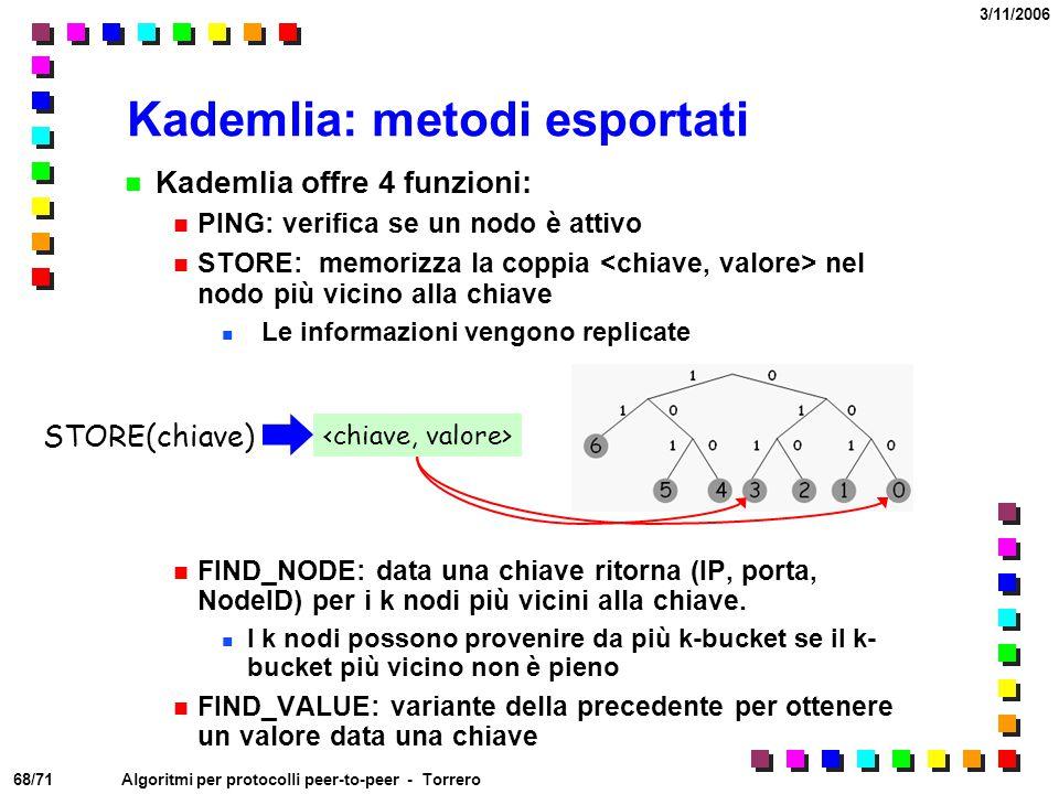 68/71 3/11/2006 Algoritmi per protocolli peer-to-peer - Torrero Kademlia offre 4 funzioni: PING: verifica se un nodo è attivo STORE: memorizza la copp