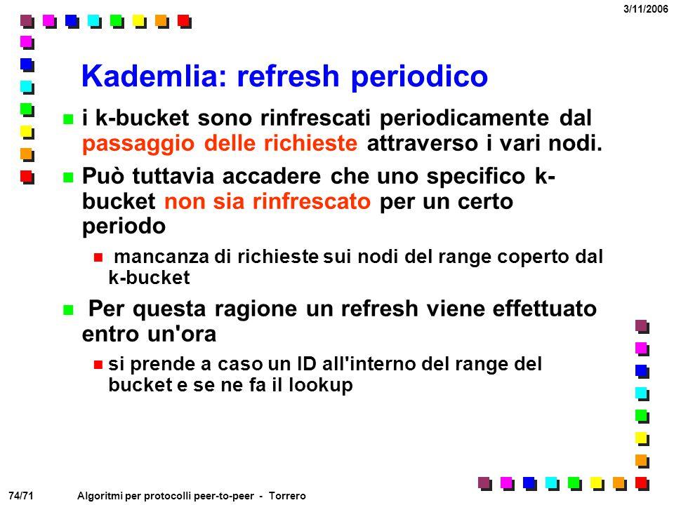 74/71 3/11/2006 Algoritmi per protocolli peer-to-peer - Torrero Kademlia: refresh periodico i k-bucket sono rinfrescati periodicamente dal passaggio d