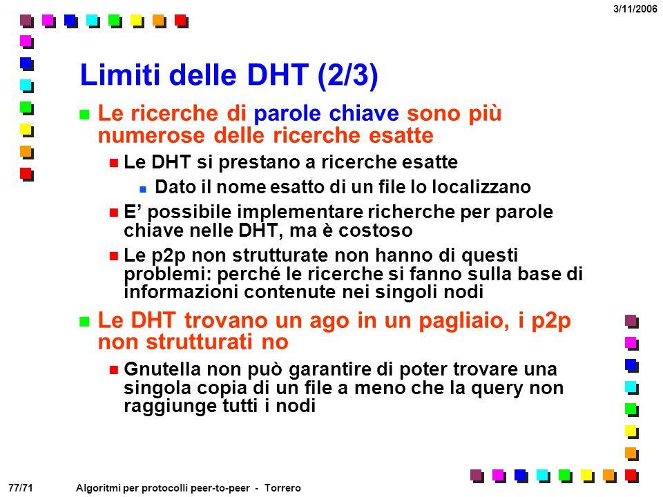 77/71 3/11/2006 Algoritmi per protocolli peer-to-peer - Torrero Limiti delle DHT (2/3) Le ricerche di parole chiave sono più numerose delle ricerche e