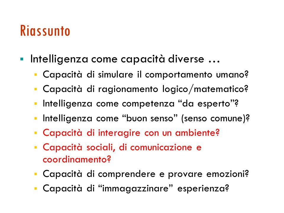 Riassunto  Intelligenza come capacità diverse …  Capacità di simulare il comportamento umano.