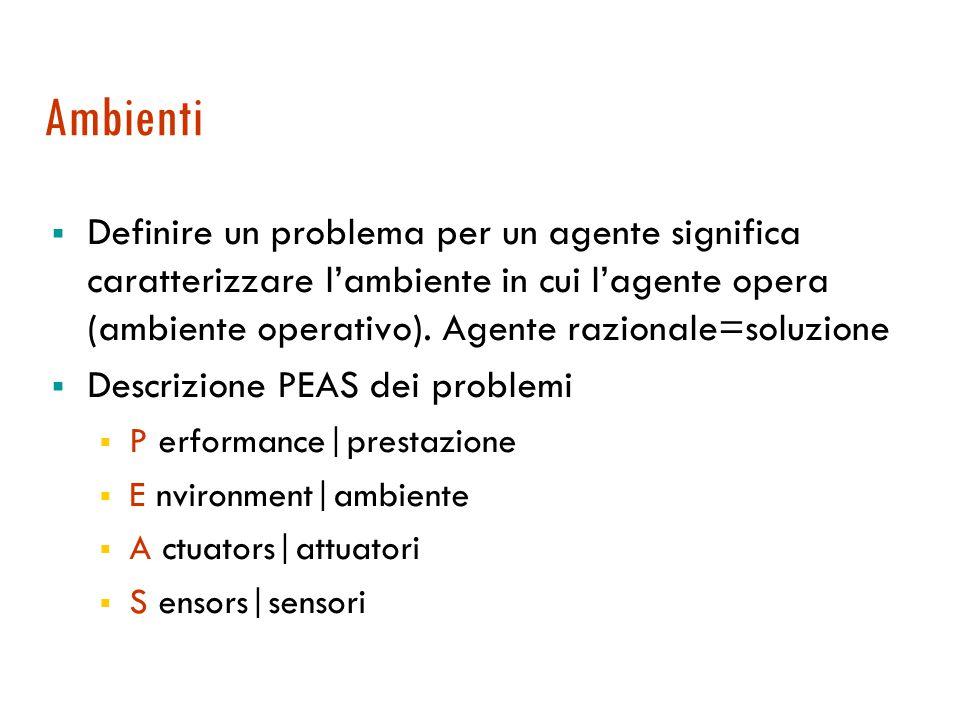 Agenti autonomi  Agente autonomo: un agente è autonomo nella misura in cui il suo comportamento dipende dalla sua esperienza.