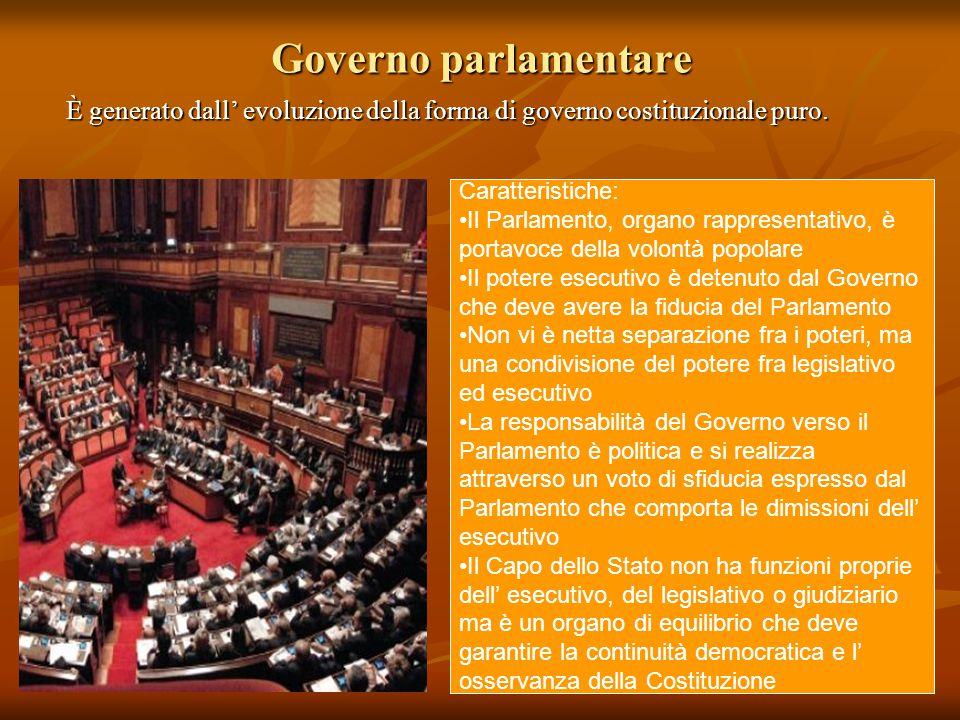 Governo parlamentare È generato dall' evoluzione della forma di governo costituzionale puro. Caratteristiche: Il Parlamento, organo rappresentativo, è