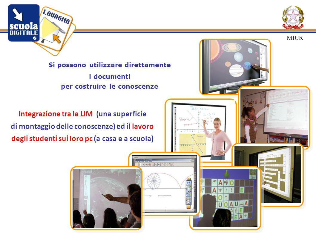 Si possono utilizzare direttamente i documenti per costruire le conoscenze Integrazione tra la LIM (una superficie di montaggio delle conoscenze) ed il lavoro degli studenti sui loro pc (a casa e a scuola) MIUR