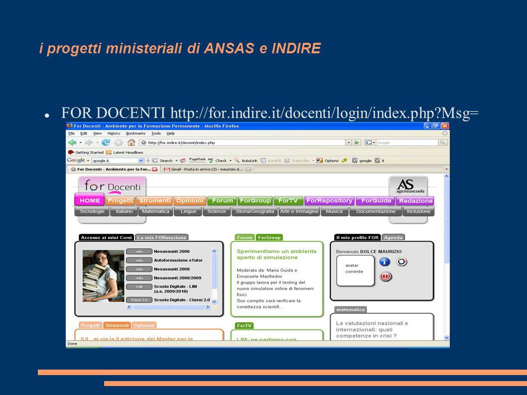 i progetti ministeriali di ANSAS e INDIRE FOR DOCENTI http://for.indire.it/docenti/login/index.php Msg=
