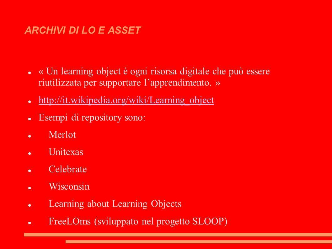 ARCHIVI DI LO E ASSET « Un learning object è ogni risorsa digitale che può essere riutilizzata per supportare l'apprendimento.
