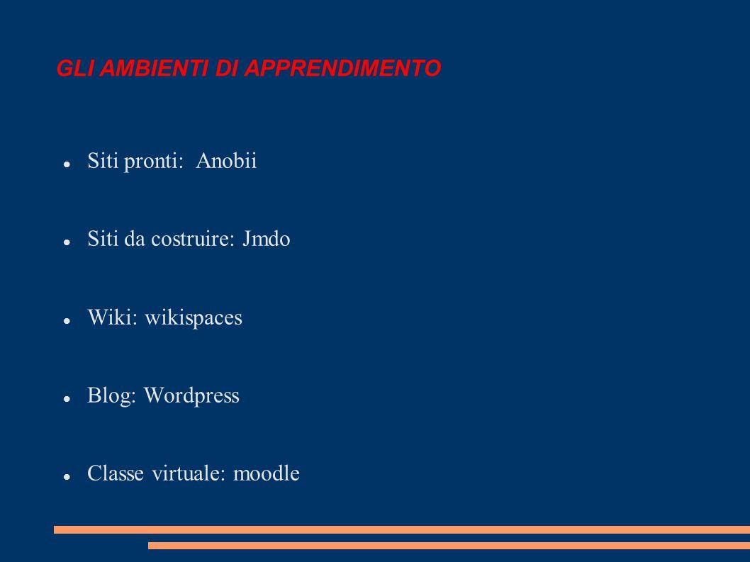 GLI AMBIENTI DI APPRENDIMENTO Siti pronti: Anobii Siti da costruire: Jmdo Wiki: wikispaces Blog: Wordpress Classe virtuale: moodle