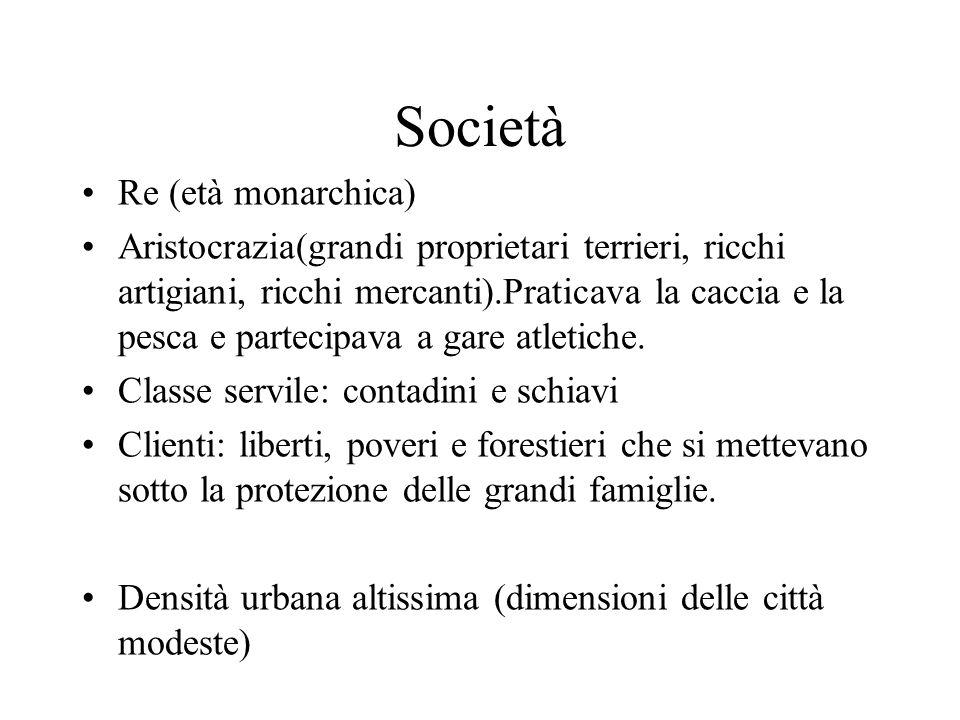 Società Re (età monarchica) Aristocrazia(grandi proprietari terrieri, ricchi artigiani, ricchi mercanti).Praticava la caccia e la pesca e partecipava