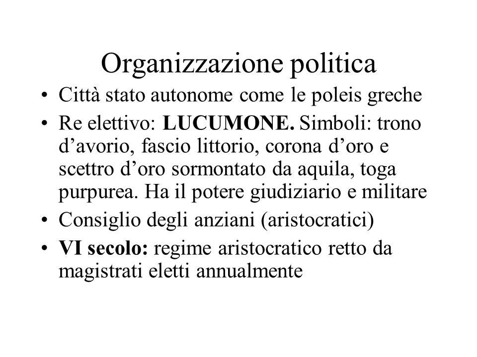Organizzazione politica Città stato autonome come le poleis greche Re elettivo: LUCUMONE. Simboli: trono d'avorio, fascio littorio, corona d'oro e sce