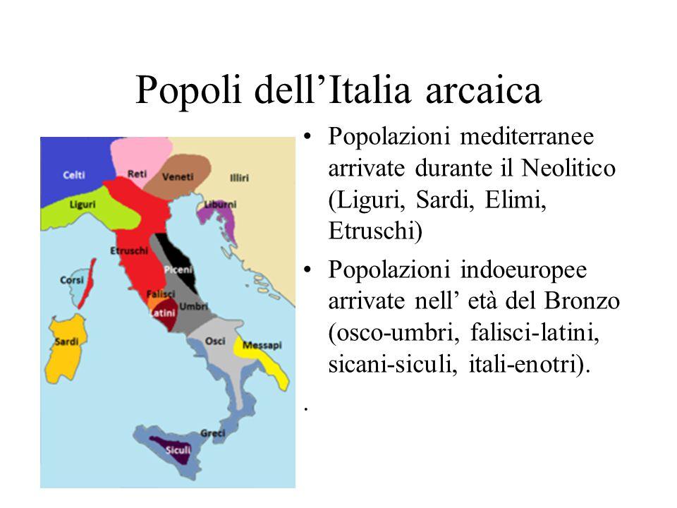 Popoli dell'Italia arcaica Popolazioni mediterranee arrivate durante il Neolitico (Liguri, Sardi, Elimi, Etruschi) Popolazioni indoeuropee arrivate ne