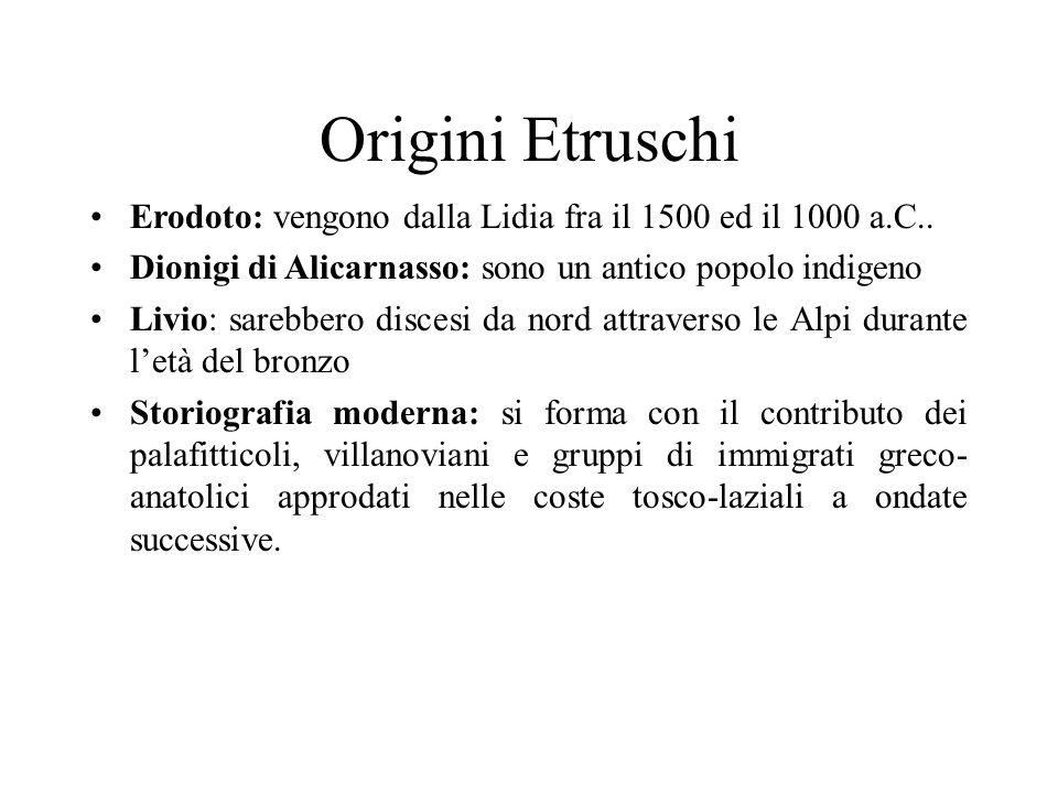 Origini Etruschi Erodoto: vengono dalla Lidia fra il 1500 ed il 1000 a.C.. Dionigi di Alicarnasso: sono un antico popolo indigeno Livio: sarebbero dis