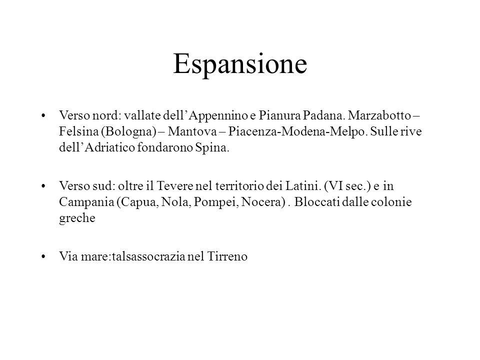Espansione Verso nord: vallate dell'Appennino e Pianura Padana. Marzabotto – Felsina (Bologna) – Mantova – Piacenza-Modena-Melpo. Sulle rive dell'Adri