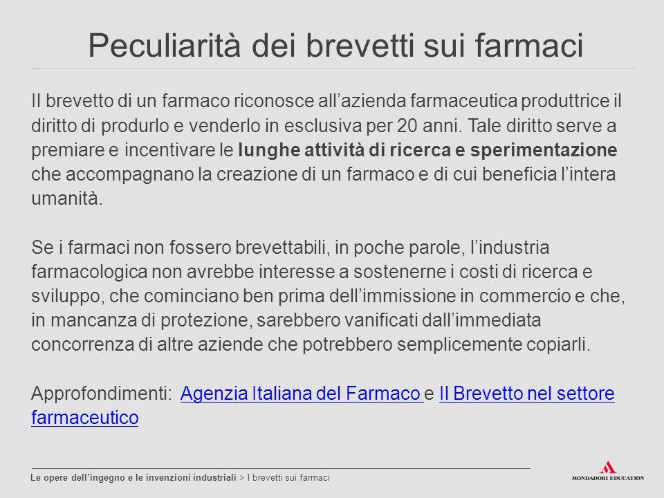 Peculiarità dei brevetti sui farmaci Il brevetto di un farmaco riconosce all'azienda farmaceutica produttrice il diritto di produrlo e venderlo in esc