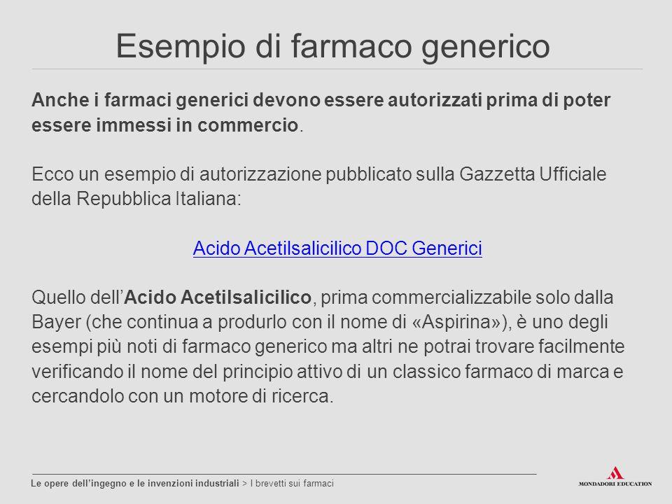 Esempio di farmaco generico Anche i farmaci generici devono essere autorizzati prima di poter essere immessi in commercio.