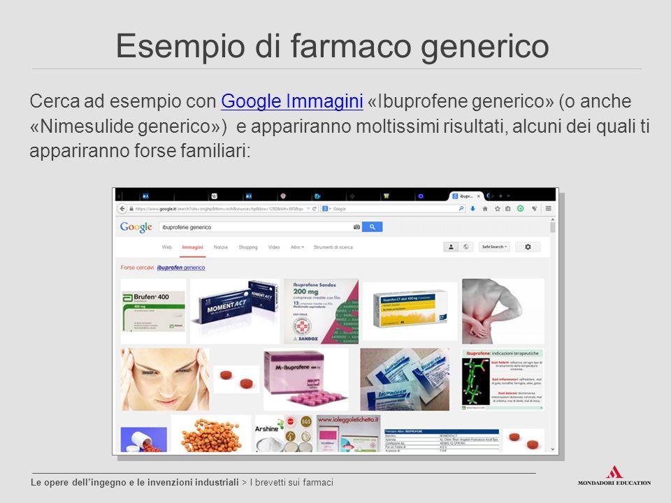Esempio di farmaco generico Cerca ad esempio con Google Immagini «Ibuprofene generico» (o anche «Nimesulide generico») e appariranno moltissimi risultati, alcuni dei quali ti appariranno forse familiari:Google Immagini Le opere dell'ingegno e le invenzioni industriali > I brevetti sui farmaci