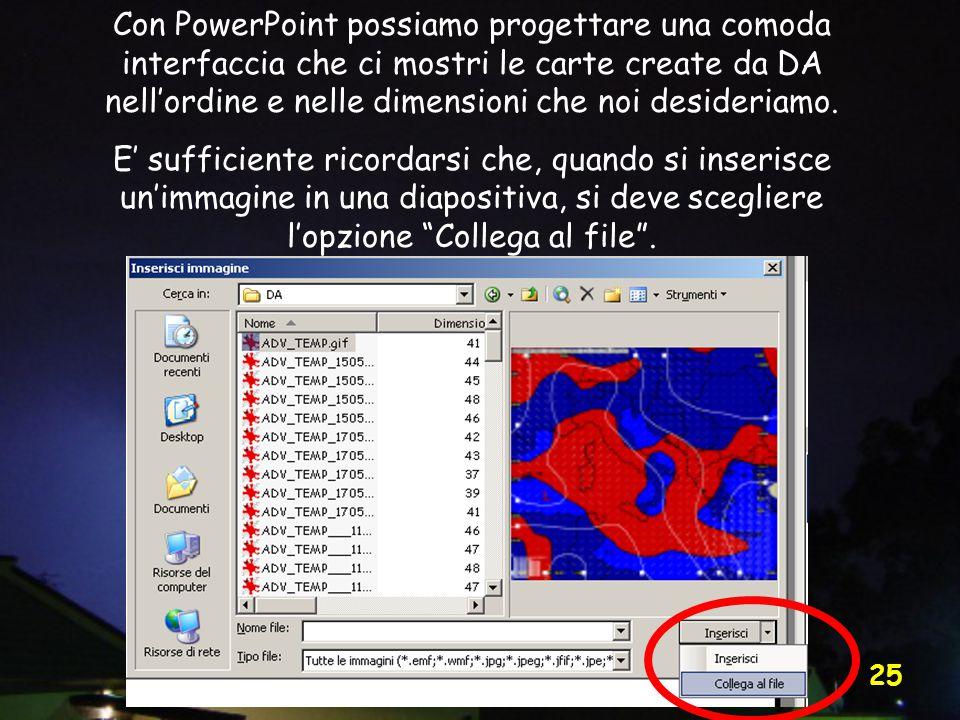 Vittorio Villasmunta 25 Con PowerPoint possiamo progettare una comoda interfaccia che ci mostri le carte create da DA nell'ordine e nelle dimensioni che noi desideriamo.