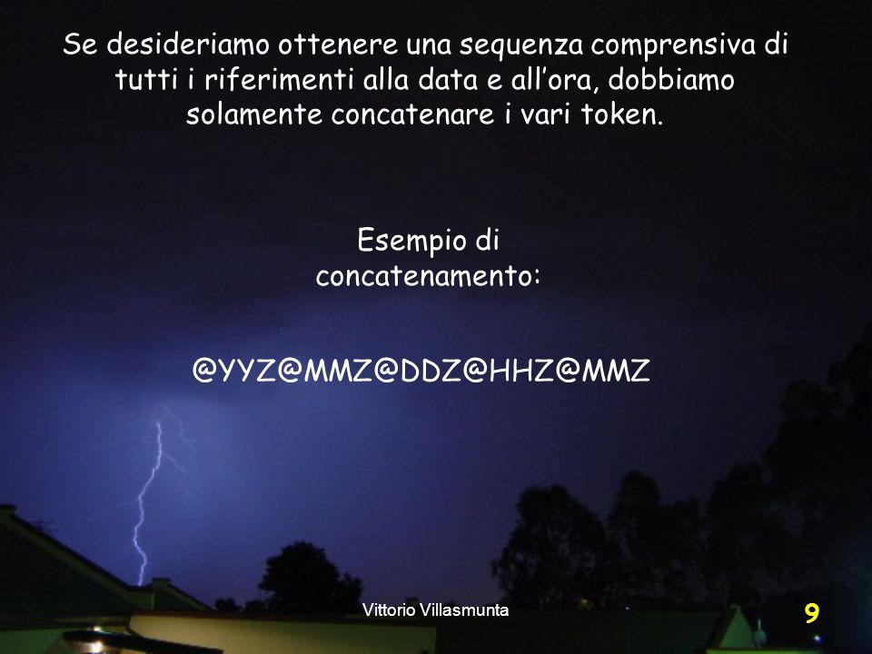 Vittorio Villasmunta 9 Se desideriamo ottenere una sequenza comprensiva di tutti i riferimenti alla data e all'ora, dobbiamo solamente concatenare i vari token.
