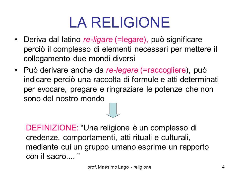 prof.Massimo Lago - religione5 Quali elementi sono necessari per costituire una religione.
