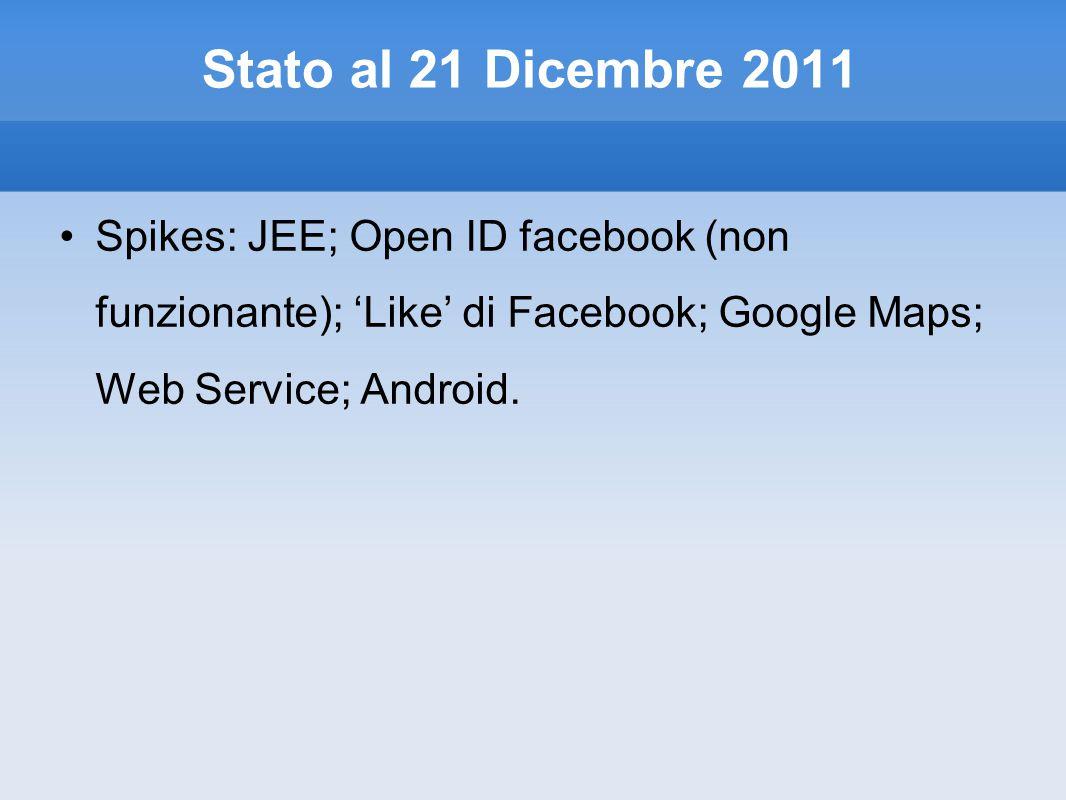 Stato al 21 Dicembre 2011 Spikes: JEE; Open ID facebook (non funzionante); 'Like' di Facebook; Google Maps; Web Service; Android.