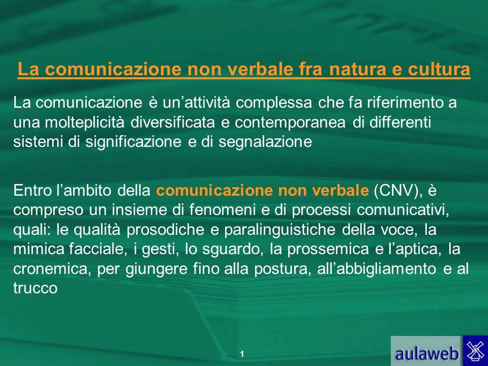 1 La comunicazione non verbale fra natura e cultura La comunicazione è un'attività complessa che fa riferimento a una molteplicità diversificata e con