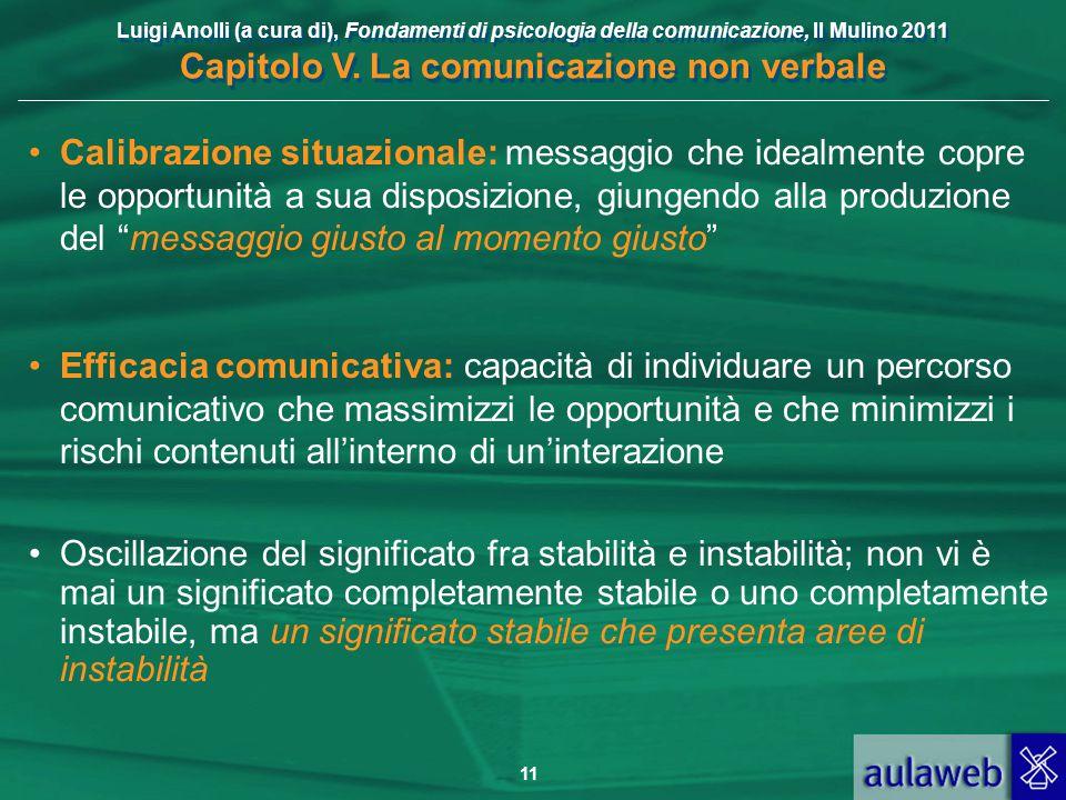 Luigi Anolli (a cura di), Fondamenti di psicologia della comunicazione, Il Mulino 2011 Capitolo V. La comunicazione non verbale 11 Calibrazione situaz