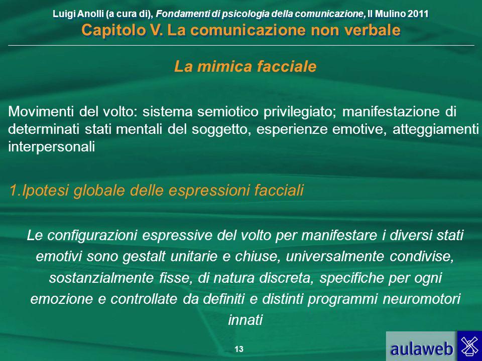 Luigi Anolli (a cura di), Fondamenti di psicologia della comunicazione, Il Mulino 2011 Capitolo V. La comunicazione non verbale 13 La mimica facciale