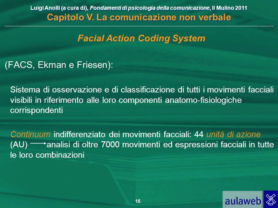 Luigi Anolli (a cura di), Fondamenti di psicologia della comunicazione, Il Mulino 2011 Capitolo V. La comunicazione non verbale 15 Facial Action Codin