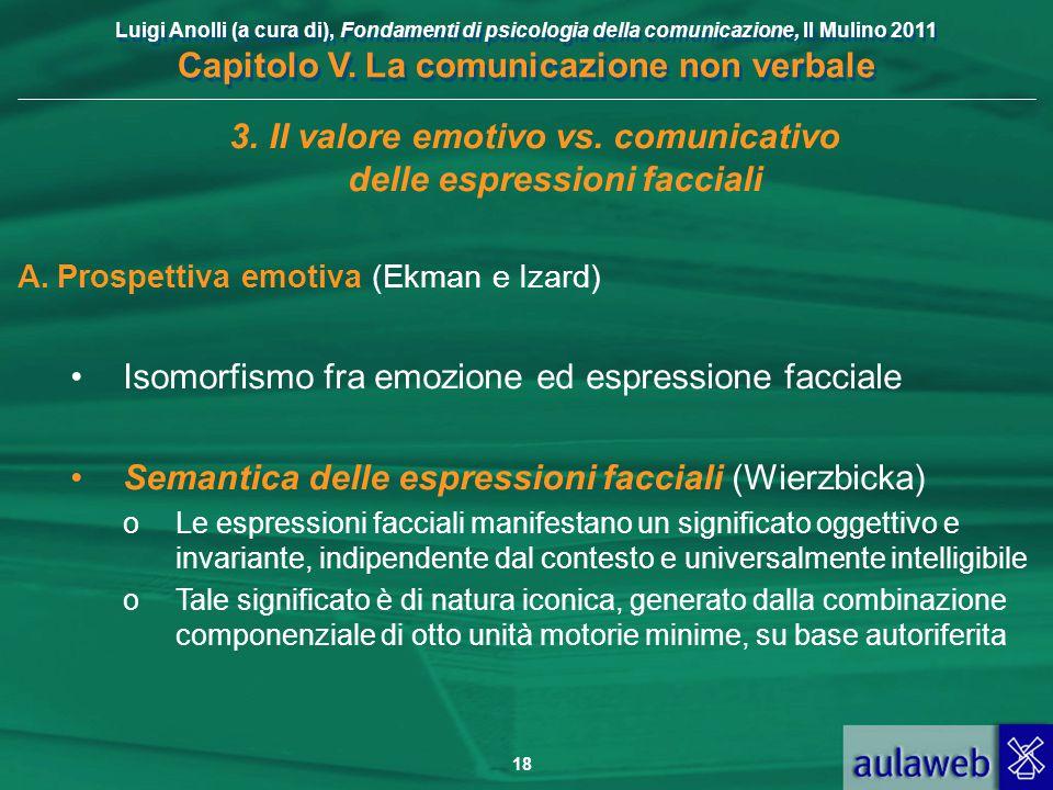 Luigi Anolli (a cura di), Fondamenti di psicologia della comunicazione, Il Mulino 2011 Capitolo V. La comunicazione non verbale 18 3.Il valore emotivo