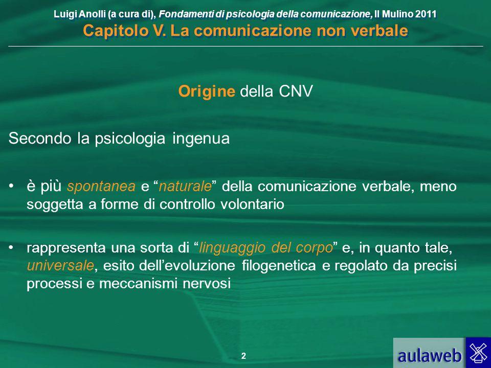 Luigi Anolli (a cura di), Fondamenti di psicologia della comunicazione, Il Mulino 2011 Capitolo V. La comunicazione non verbale 2 Origine della CNV Se