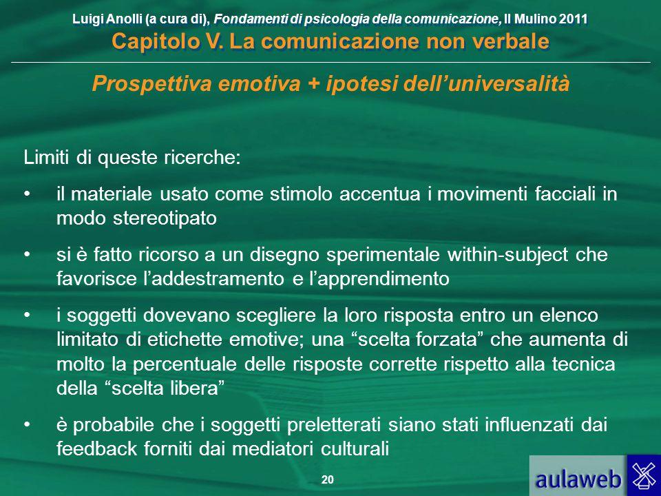 Luigi Anolli (a cura di), Fondamenti di psicologia della comunicazione, Il Mulino 2011 Capitolo V. La comunicazione non verbale 20 Prospettiva emotiva