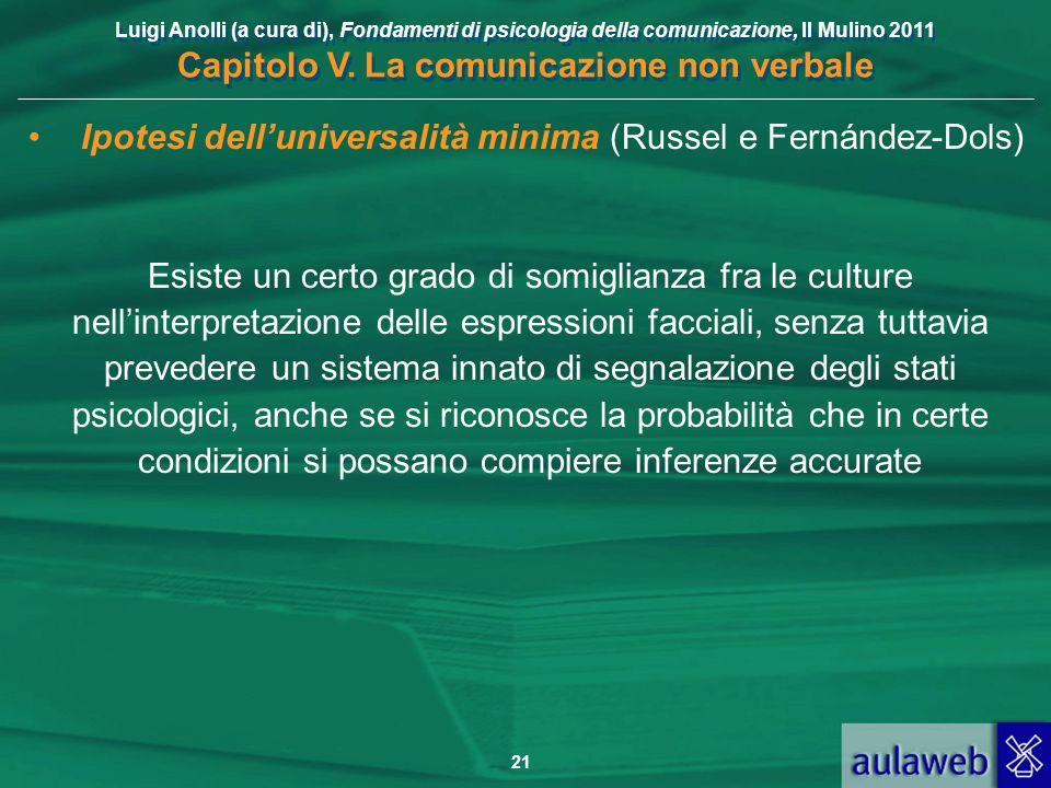 Luigi Anolli (a cura di), Fondamenti di psicologia della comunicazione, Il Mulino 2011 Capitolo V. La comunicazione non verbale 21 Ipotesi dell'univer