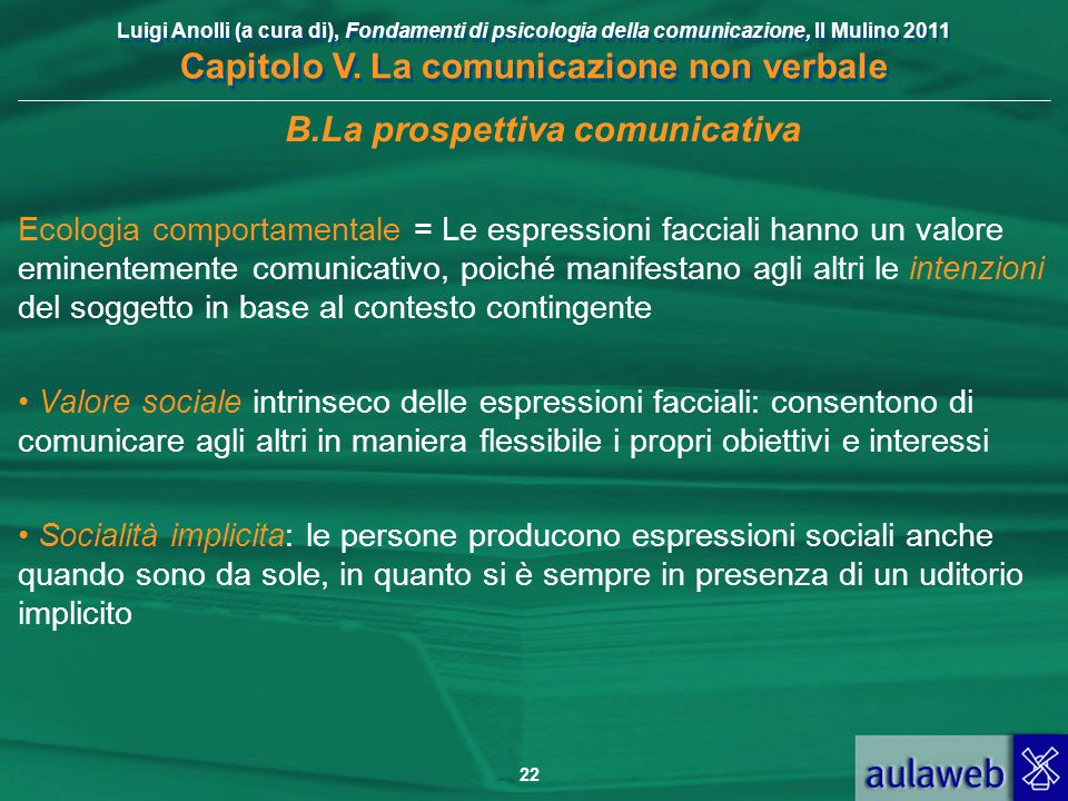 Luigi Anolli (a cura di), Fondamenti di psicologia della comunicazione, Il Mulino 2011 Capitolo V. La comunicazione non verbale 22 B.La prospettiva co