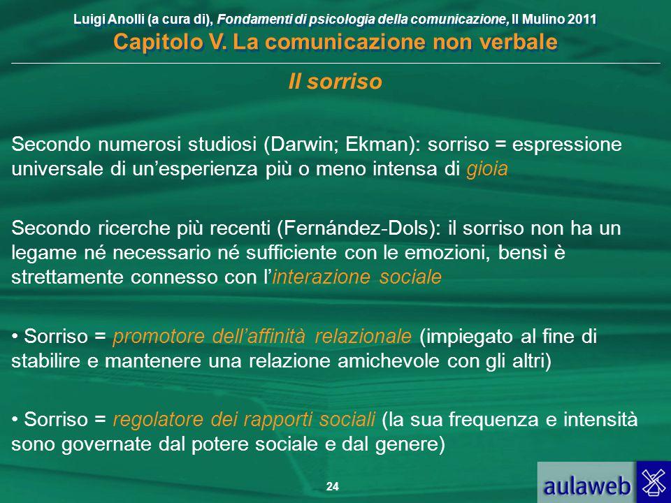 Luigi Anolli (a cura di), Fondamenti di psicologia della comunicazione, Il Mulino 2011 Capitolo V. La comunicazione non verbale 24 Il sorriso Secondo