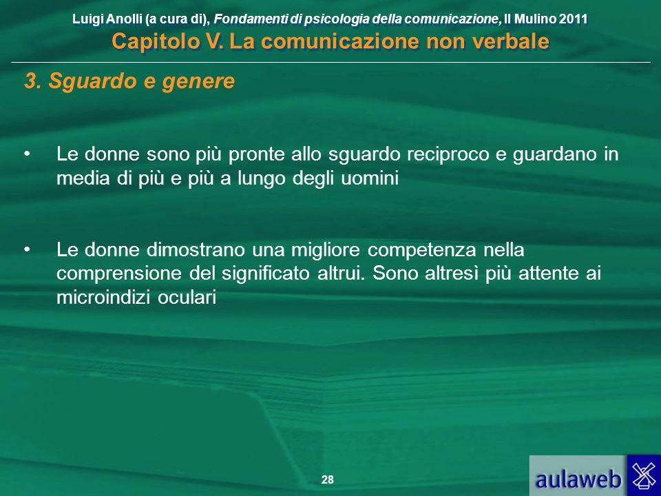 Luigi Anolli (a cura di), Fondamenti di psicologia della comunicazione, Il Mulino 2011 Capitolo V. La comunicazione non verbale 28 3. Sguardo e genere