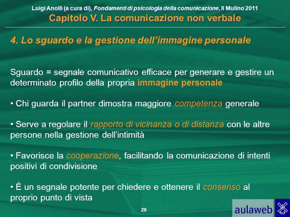 Luigi Anolli (a cura di), Fondamenti di psicologia della comunicazione, Il Mulino 2011 Capitolo V. La comunicazione non verbale 29 4. Lo sguardo e la