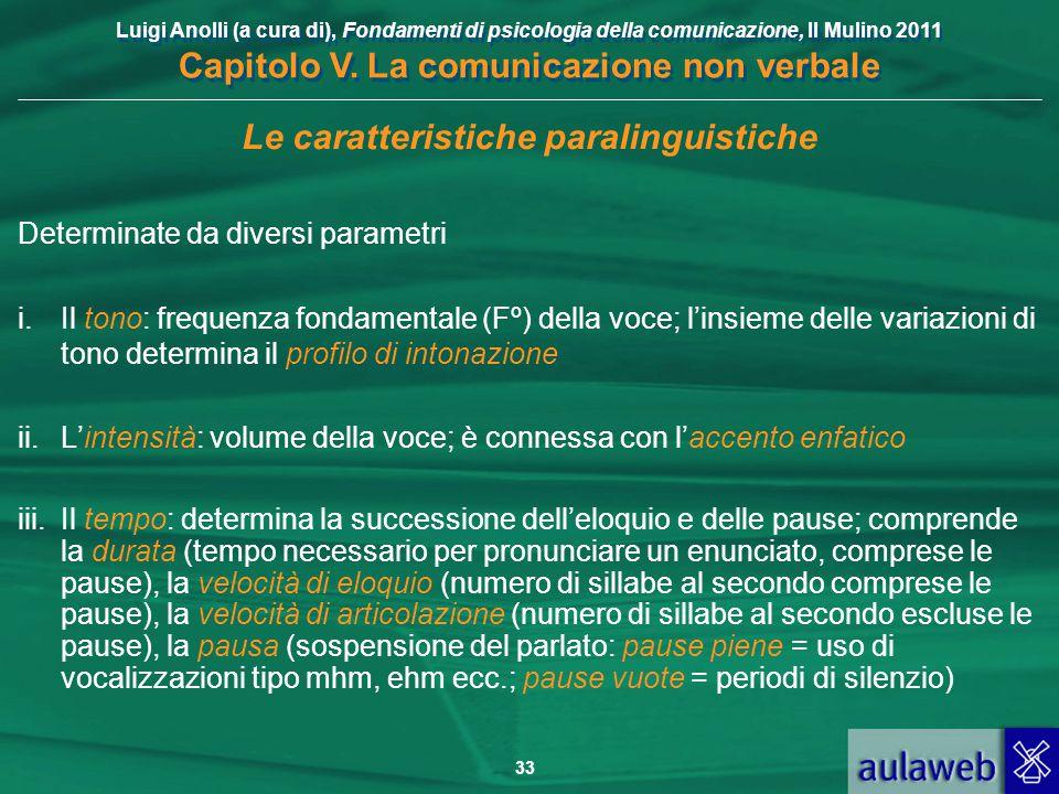 Luigi Anolli (a cura di), Fondamenti di psicologia della comunicazione, Il Mulino 2011 Capitolo V. La comunicazione non verbale 33 Le caratteristiche