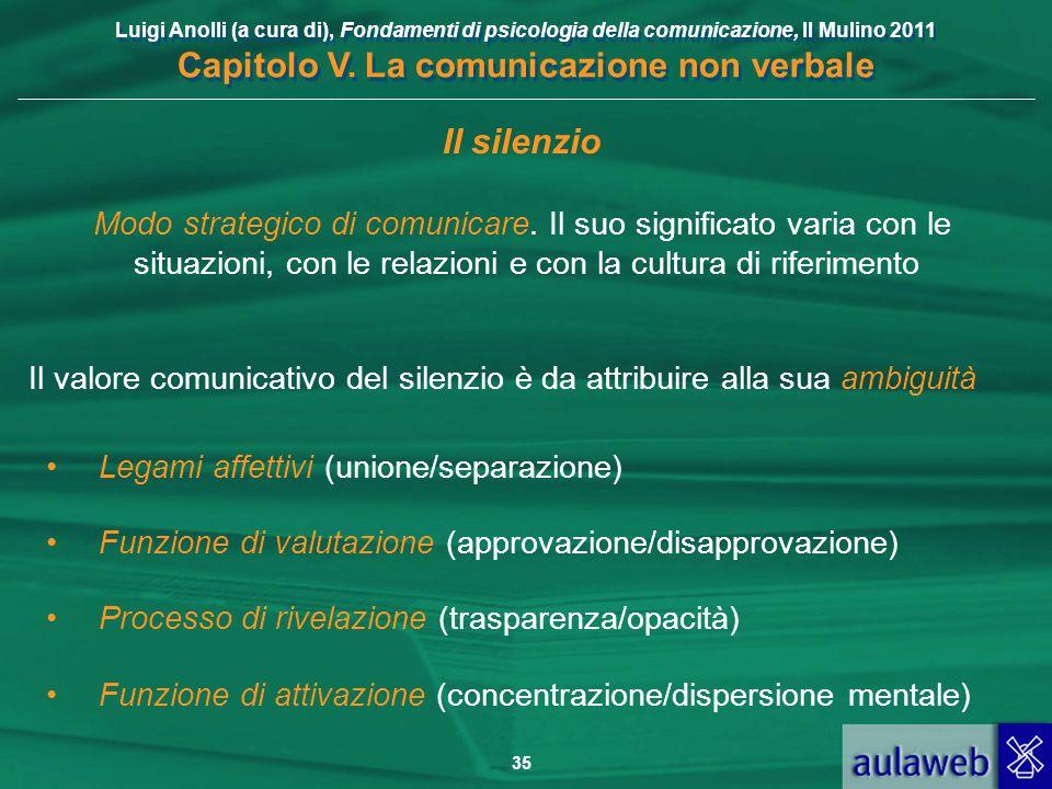 Luigi Anolli (a cura di), Fondamenti di psicologia della comunicazione, Il Mulino 2011 Capitolo V. La comunicazione non verbale 35 Il silenzio Modo st