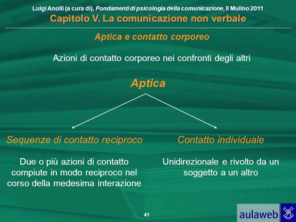 Luigi Anolli (a cura di), Fondamenti di psicologia della comunicazione, Il Mulino 2011 Capitolo V. La comunicazione non verbale 41 Aptica Sequenze di