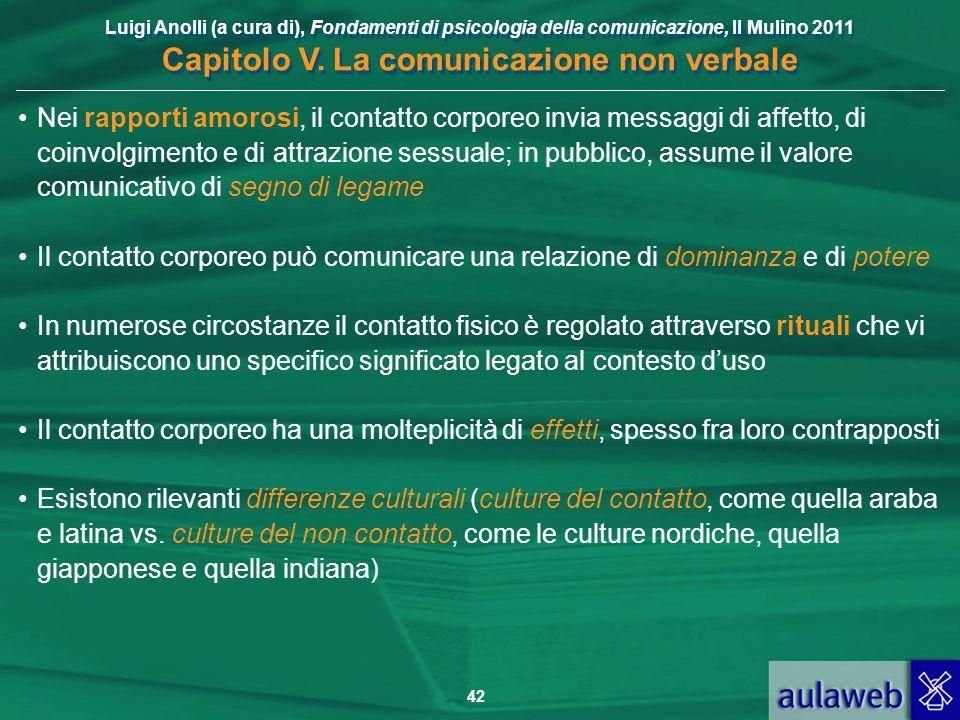 Luigi Anolli (a cura di), Fondamenti di psicologia della comunicazione, Il Mulino 2011 Capitolo V. La comunicazione non verbale 42 Nei rapporti amoros