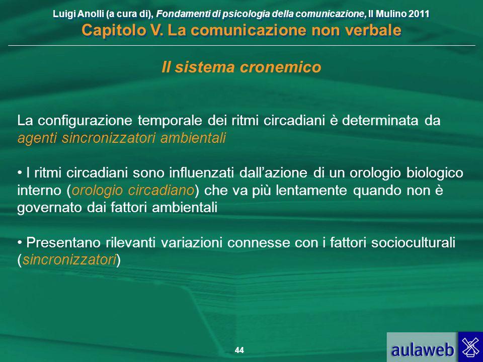 Luigi Anolli (a cura di), Fondamenti di psicologia della comunicazione, Il Mulino 2011 Capitolo V. La comunicazione non verbale 44 Il sistema cronemic