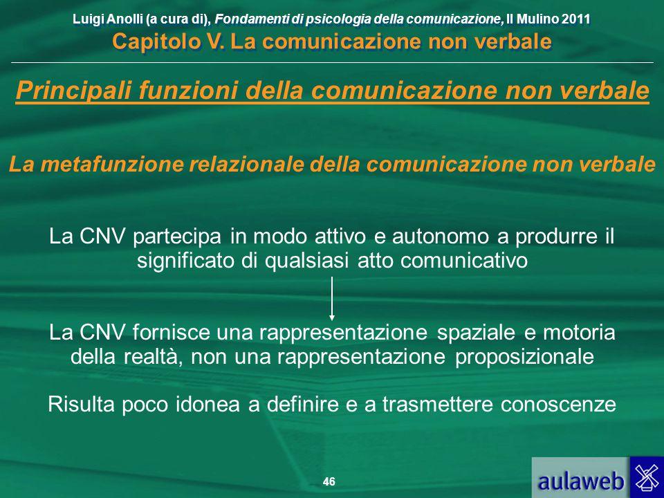 Luigi Anolli (a cura di), Fondamenti di psicologia della comunicazione, Il Mulino 2011 Capitolo V. La comunicazione non verbale 46 Principali funzioni