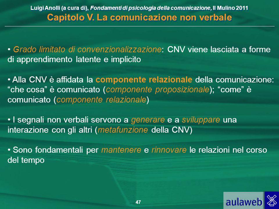 Luigi Anolli (a cura di), Fondamenti di psicologia della comunicazione, Il Mulino 2011 Capitolo V. La comunicazione non verbale 47 Grado limitato di c